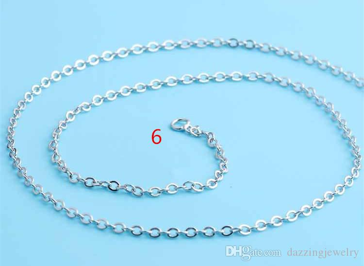 """Platinum Plated Silver design Lobster Clasp Cable Link Necklaces Fashion O Chain Box Chain Necklaces 16'' 18"""""""