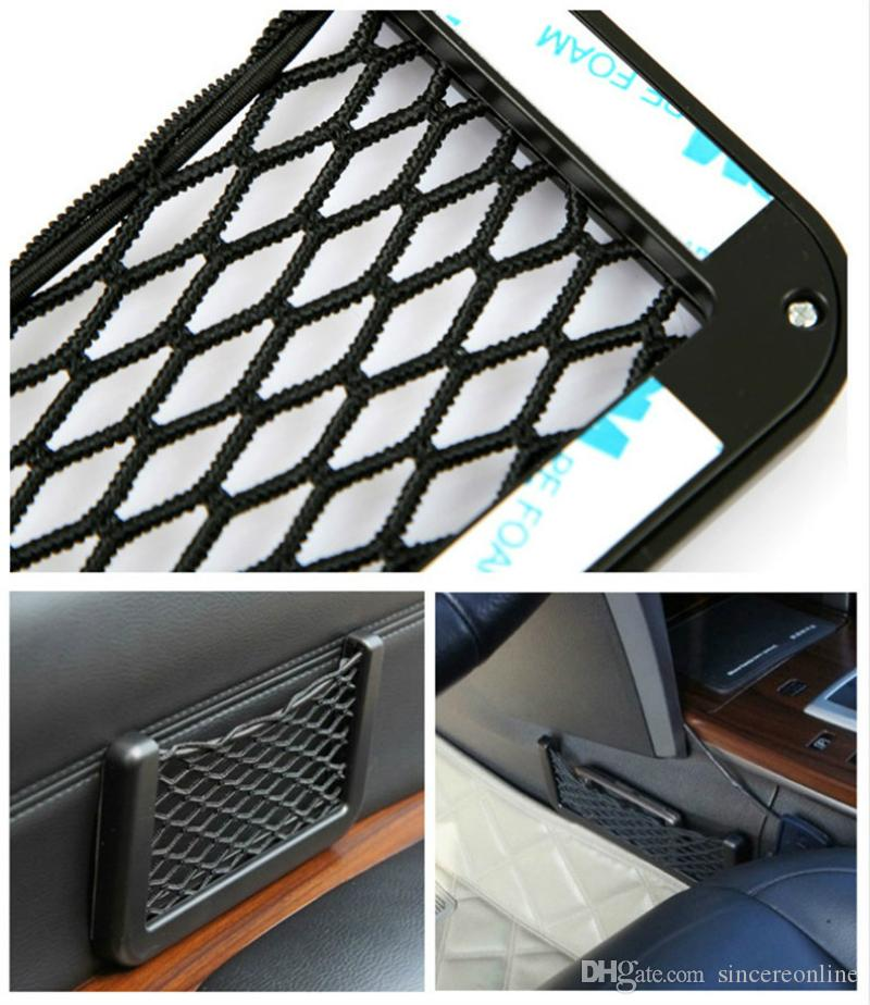 3M Adhesive Car Styling Net Organizer Car Seat Door Side Phone Holder Creative Auto Storage Bag