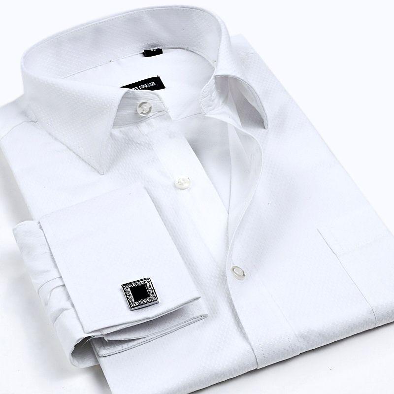 c9542e533b1 2019 Wholesale Men Dress Shirts With Diamond Cufflinks Cotton Shirt For Men  Long Sleeve Plaid  Strpped Shirs Men Clothing S 4XL From Baicao