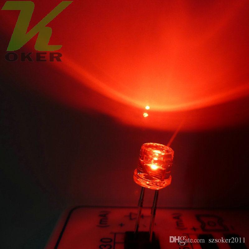 5mm Rosso Flat top LED Lampada led Diodi 5mm Flat Top LED ad ampio angolo ultra luminosi