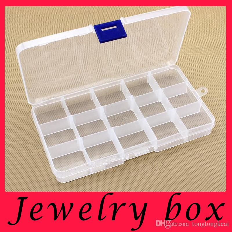 Discount 15 Grids Transparent Adjustable Slots Jewelry Bead