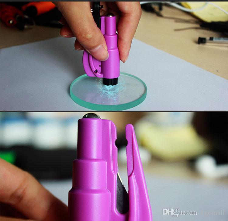 Mini 3 en 1 Cutter Ceinture De Sécurité En Verre Disjoncteur Outil De Chaîne Clé Intelligent AUTO Marteau De Sécurité D'urgence Escape Lift Save Tool SOS Sifflet