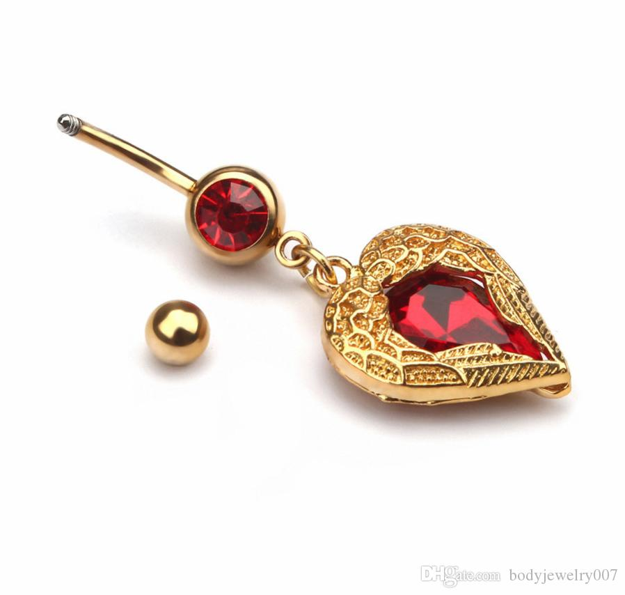 D0622   heart navel button ring red color hot selling piercing body jewlery 1.6*11*5/8 steel belly ring