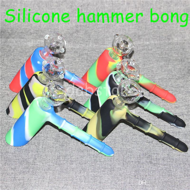 Marteau Voyage Mini Bongs Le Martien En Silicone Blunt Bong Bubbler Joint De Fumée Bubble Petit Pipe À Eau En Silicone Nectar Collector DHL