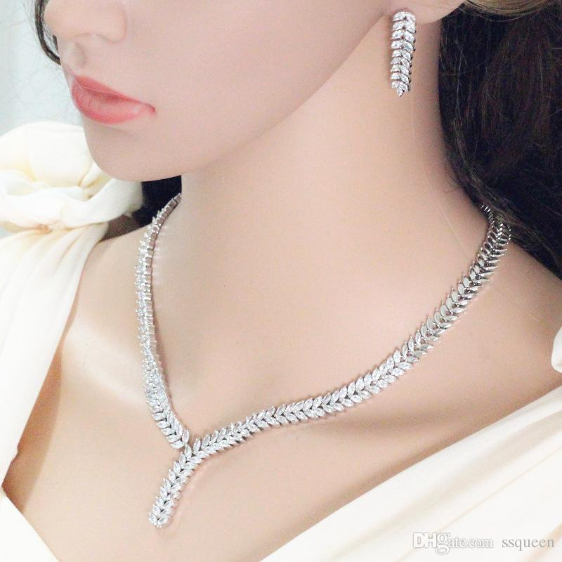 Top grade rhodium plated brilliant CZ diamond Wheat shape long wedding earring necklace set for brides