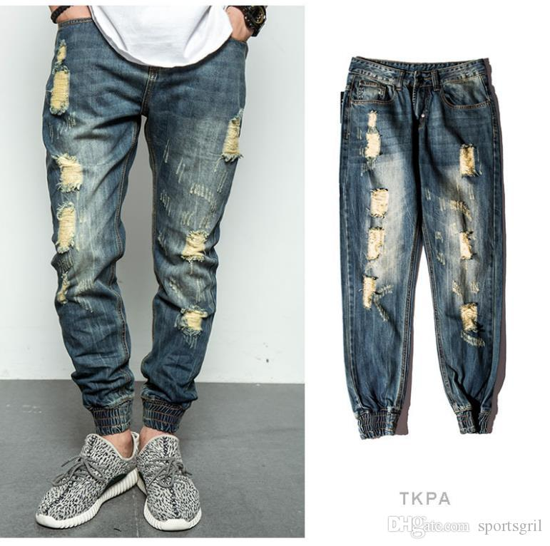 Compre Hombres Jogger Pants Ripped Jeans Lavado Destruido Pantalones De  Mezclilla Loose Casual Street Rock Jeans Marca De Moda A  31.48 Del  Sportsgril ... 21ff85f6bcd