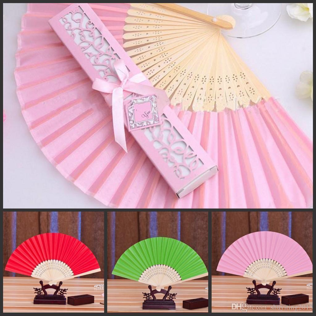 Online Cheap Fashion Silk Fan In Elegant Gift Box Of Wedding Favors ...