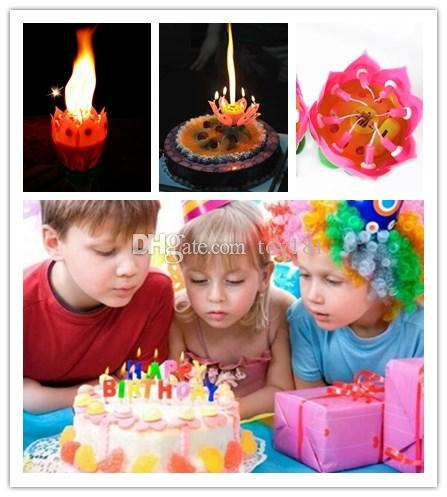 Romantic Blossom Lotus Flower Candle Birthday Party Cake Musical Music Sparkle Waterproof Flame The Best Present Novelgames