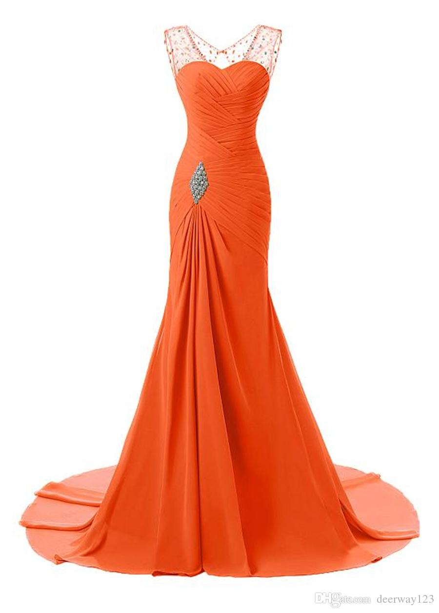 Stunning Chiffon V-Neckline Mermaid Evening Dresses With Beadings Ruched Bodice Illusion Back with Crystals Prom Dress vestido de formatura