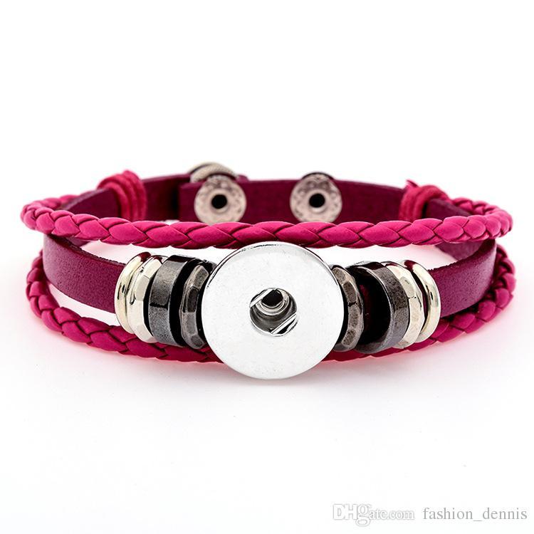Noosa многослойные плетеные кожаные браслеты 18 мм куски взаимозаменяемые имбирь Оснастки кнопки прелести браслет для женщин мужчины S ювелирные изделия