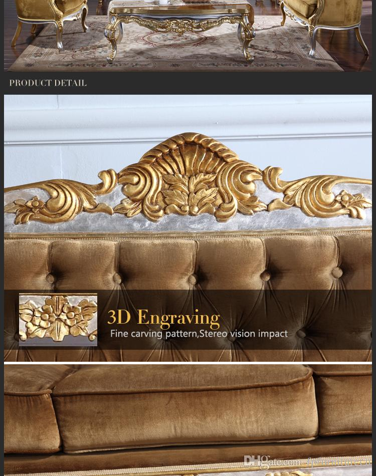 Baroque Classic living room furniture- European Classic sofa set with silver and gold leaf gilding -Italian luxury classic sofa set