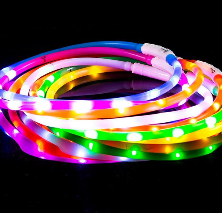 Dog Collars USB Luminous Pet Collar LED Light USB Charging Dog Collar Teddy Flash Collar Pet Supplies Wholesale
