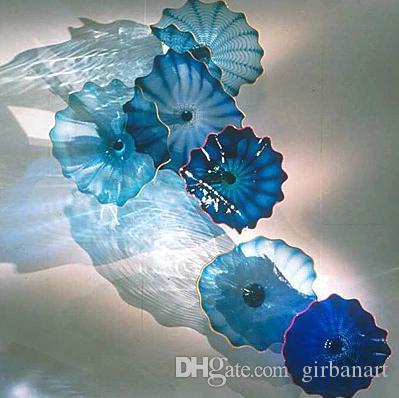 Klassische blaue lampen hängen teller italienisch design handgeblasen blume kunst home hotel dekorative glas wandplatten