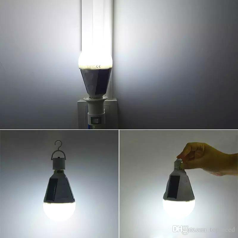 E27 Solare luci E27 7W Lampada solare 85-265V Energy Saving Light Lampade a LED Lampada intelligente Ricaricabile Solar Emergency Bulb Daylight