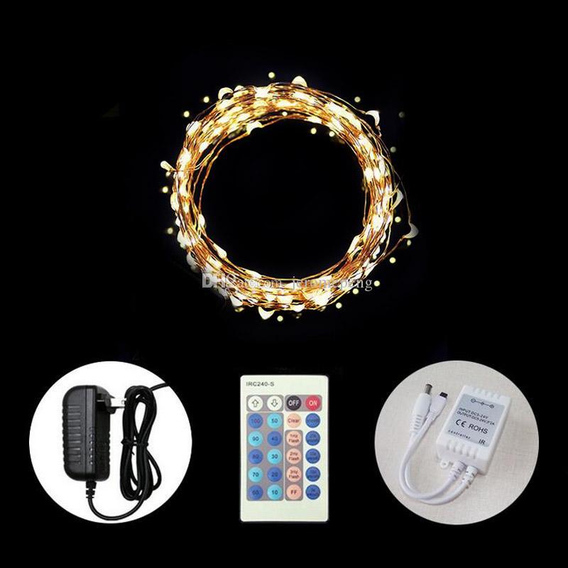 33 피트 야외 LED 요정 문자열 조명 디 밍이 가능한 별이 빛을 주도 구리 와이어 빛 침실 방패 크리스마스를위한 완벽한 방수 로프 조명
