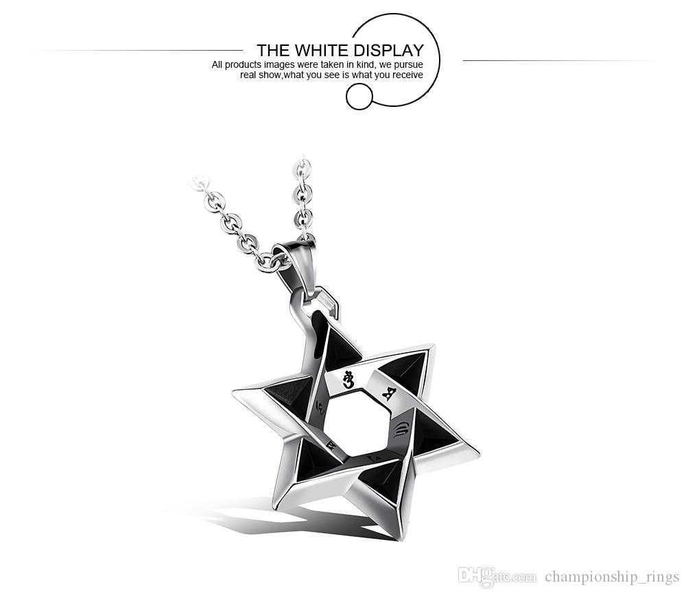 Star Of David Pendant Men Necklace With Religious Words Steeless Steel Link Chain Luck&Blesiing Jewelry Gift For Boy GX1102