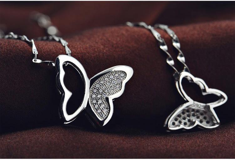 925 Sterling Silver Butterfly Hänge Halsband Charms Animal Mode Bohemian Smycken Överdrivna Kristall Hängsmycke Smycken För Kvinnor