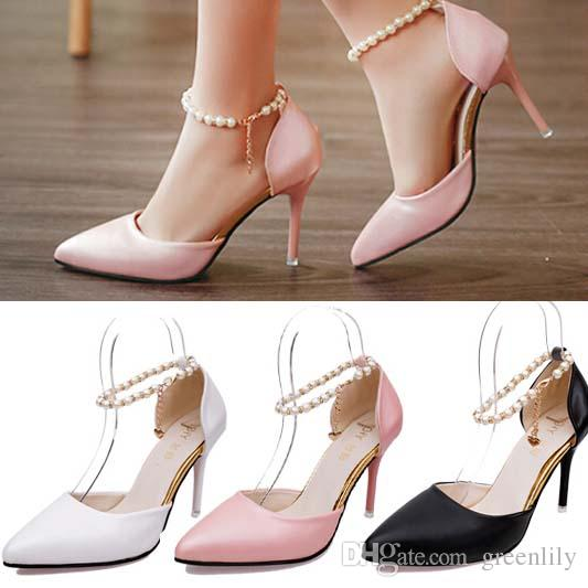 2016 Ziyuxiang Pearl Sandals Pointed Toe Stilettos High Heels Pearl Chain Ankle Strap Shoepumps  Cm New Summery Wedding Party Wedding Shoes With