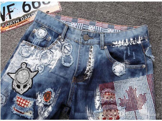 Style américain hommes personnalité patchwork épissé déchiré denim jeans Mode masculine slim colorés boutons patch voler pantalon droit NXX120