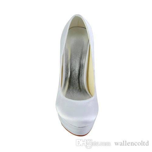 2016 High Heel HandMade Double Platform Plain Style Ivory White Color Wholesale Women Bridal Wedding Shoes Made in China from Size 35-42