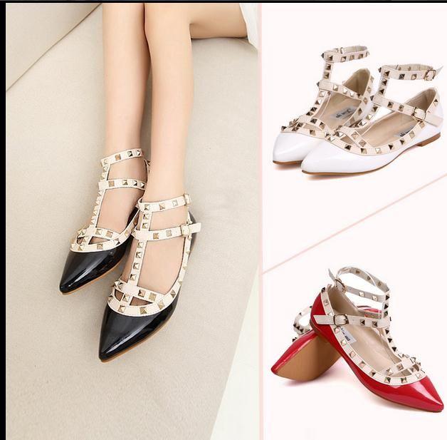 Grosshandel Neue Frauen Flache Schuhe Frau Party Mode Nieten Schuhe