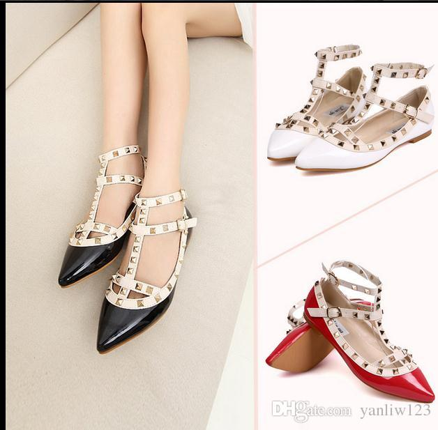 299b19d4266e New Women S Flat Shoes Woman Party Fashion Rivets Shoes Girls Sexy Pointed  Toe Flat Shoes Buckle Platform Pumps Wedding Shoes Sandals Deck Shoes Boat  Shoes ...