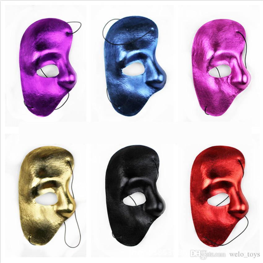 Phantom of The Opera Masks Masquerade Ball Mask Mardi Gras Masks Handmade Half-face Plain Color Plastic Mask Christmas Party Supplies