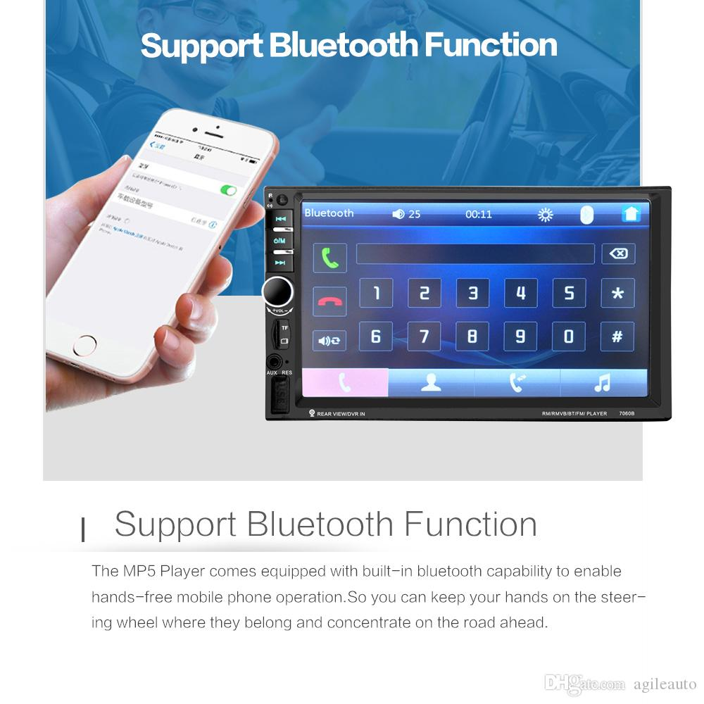 12 V 7 Inç HD Dokunmatik Ekran 2 Din Bluetooth Araç Ses Stereo FM MP5 Çalar Destek AUX USB TF Telefon Dikiz Kamera CMO_21M ile Bağlı