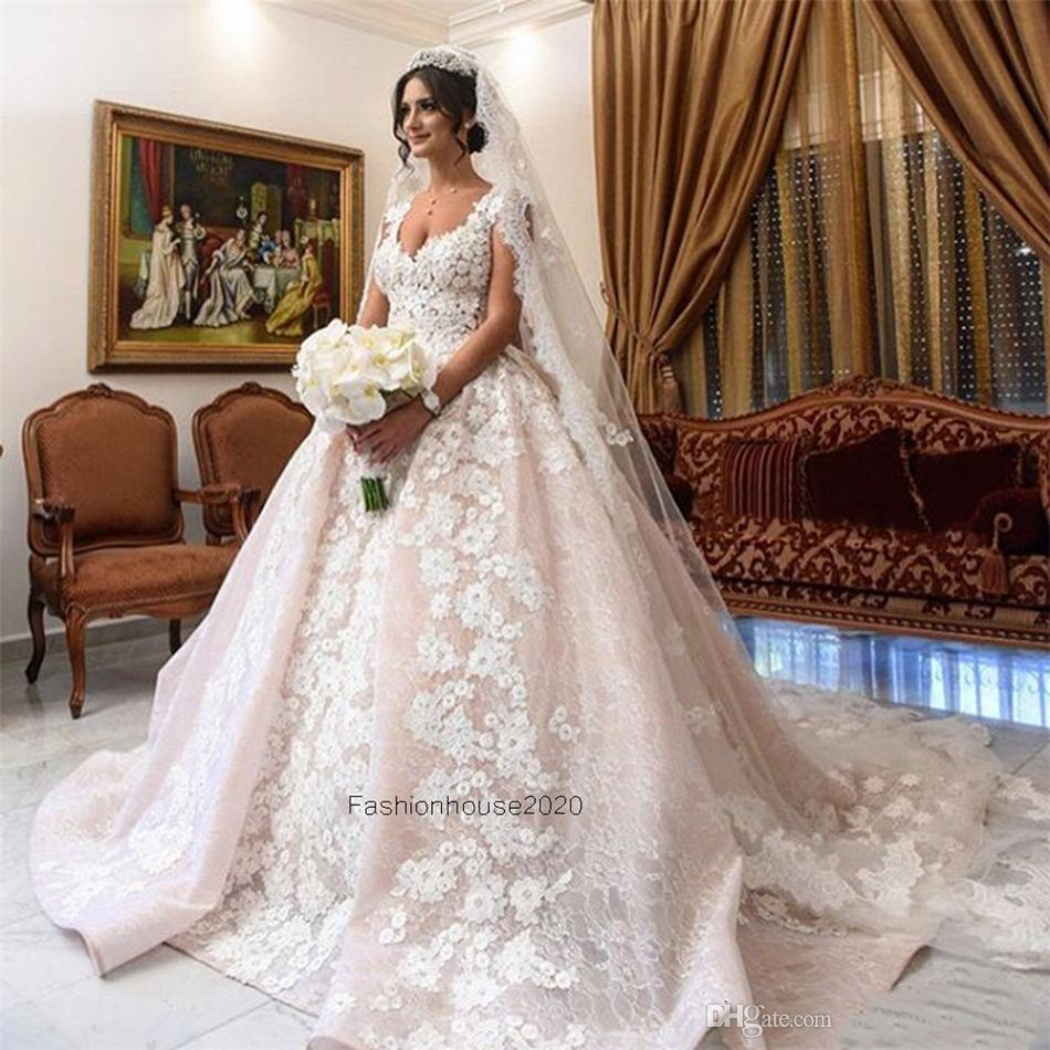 Luxus-Spitze-Ballkleid-Hochzeits-Kleider Kappen-Ärmel-Applikationen arabischer Art-plus Größen-Hochzeits-Kleid-Brautkleider nach Maß