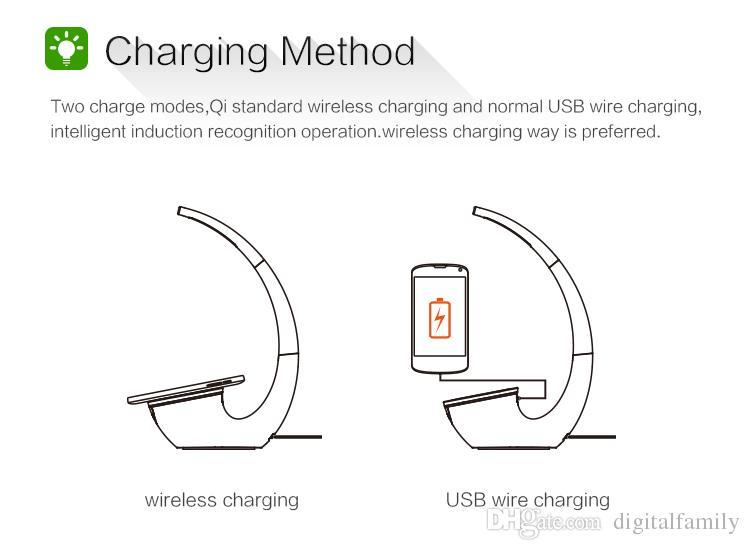 Металлический Белый Qi беспроводной зарядное устройство настольного светодиодной подсветкой для iPhone Samsang 8 С8 С8 С7 С6 край плюс Примечание 5 настольная лампа с беспроводной зарядки
