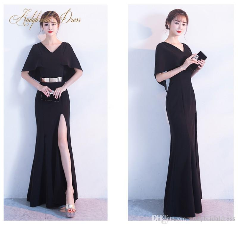 Mermaid V Neck Black Long Sexy Evening Dresses Formal Gowns With Golden  Belt Split Front Satin Floor Length Prom Dress Gown Evening Gowns for Party  Black ... 60f82026aa0d