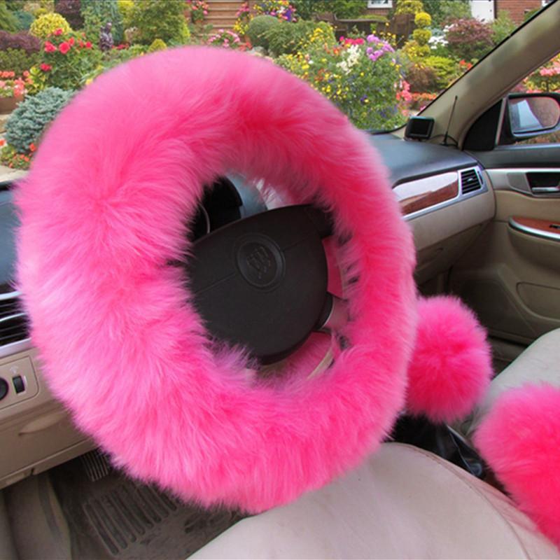 38cm Soft Winter Long Plush Warm Steering Wheel Cover Handle Sleeves Woolen Handbrake Car Accessories Pink Purple Black Red Yellow White