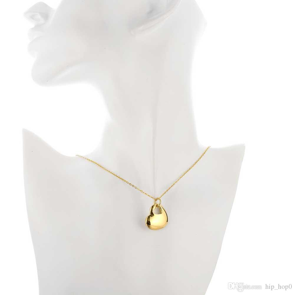 Heart to Heart Necklace Beautiful Gold Plated Hollow Heart Pendant Necklace 18K Jewelry Gold Plated 18inch Chain Necklace Lovely Gifts