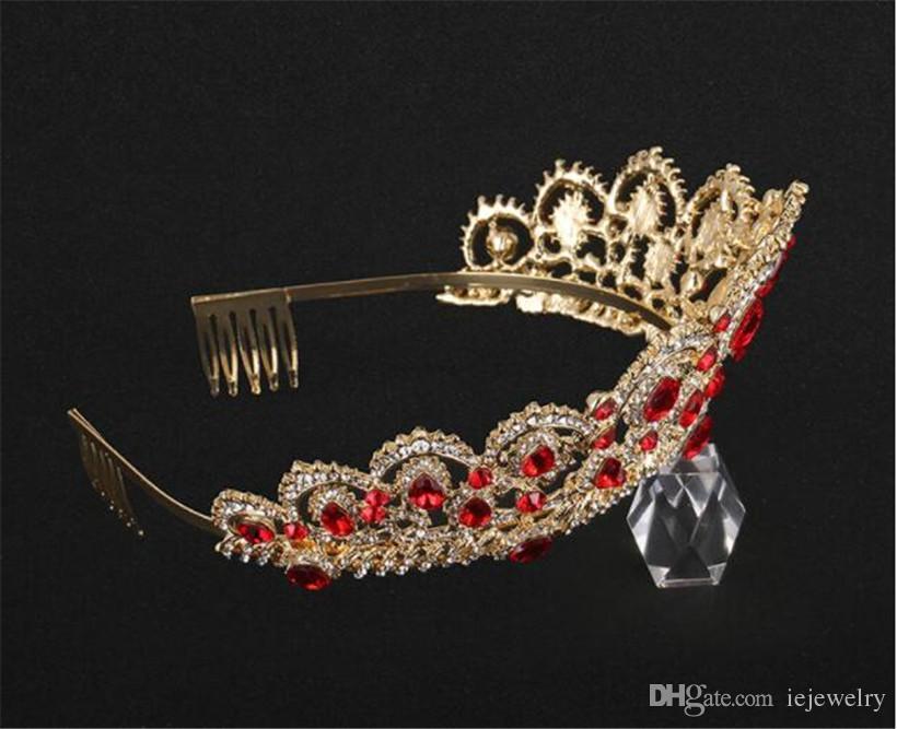 Vintage Wedding Bridal Red Crystal Crown Tiara Blue Green Rhinestone Headband Hair Accessories Comb Headpiece Party Prom Queen Headdress