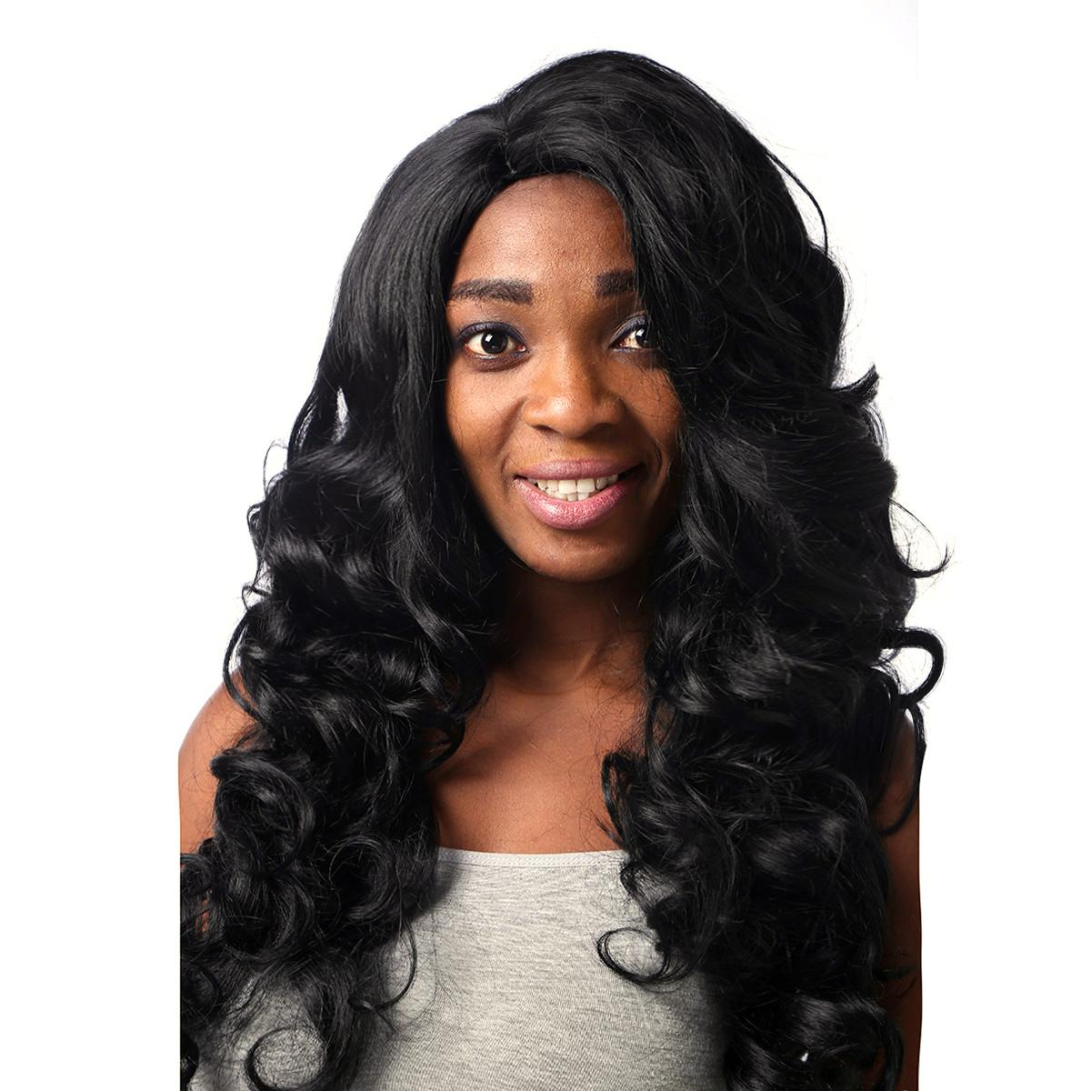 Beautiful Hairstyle Long Wavy Black Red Color Capless Synthetic Hair
