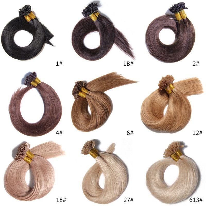 Grade 7A - 100% vierge de cheveux humains ongles / U pointe en extension de cheveux avec 16 '' - 22 '', 1g / Strand 300s / DHL gratuit