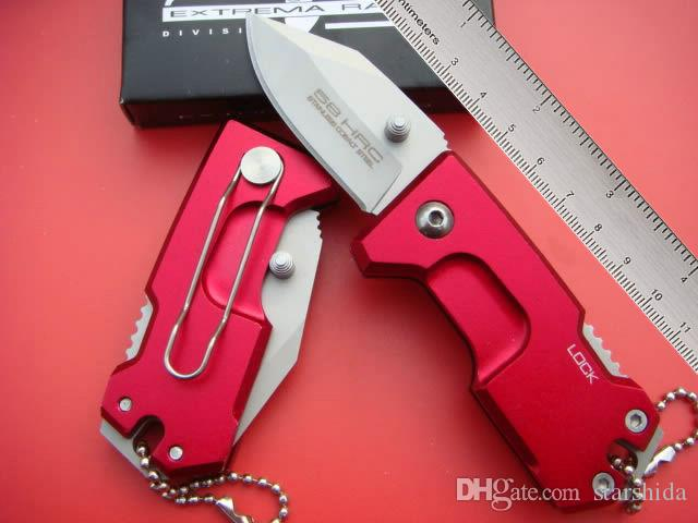 새로운 미니 Extrema 비율 폴트 접이식 칼 440C 57HRC T6 알루미늄 핸들 전술 사냥 서바이벌 나이프 열쇠 고리 유틸리티 EDC 소매 박스