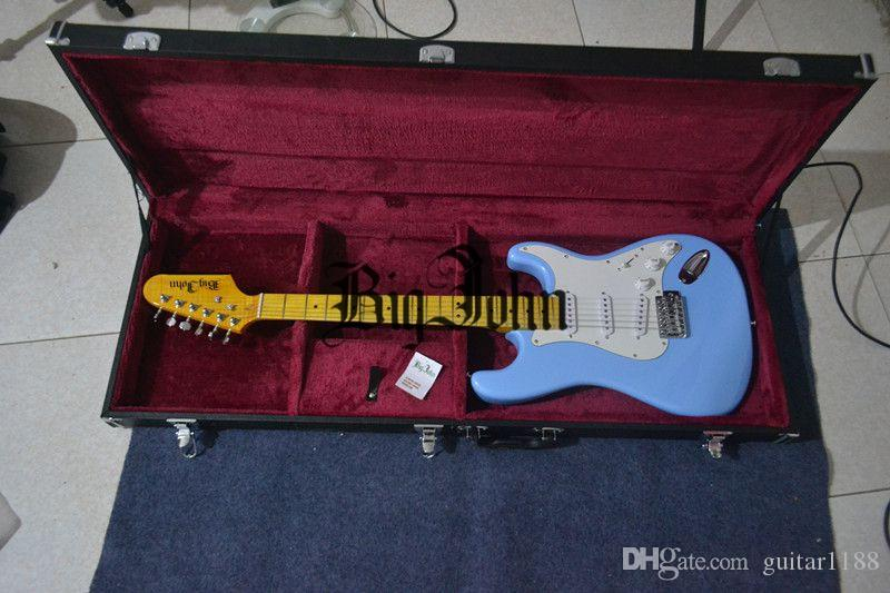 new Big John single wave electric guitar in blue with alder body and tiger stripes maple neck F-3132