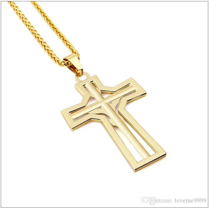 Рэппер высокое качество 24K позолоченный Иисус крест подвески ожерелье хип-хоп стиль Золотой распятие кулон кубинская цепь ожерелье рок ювелирные изделия