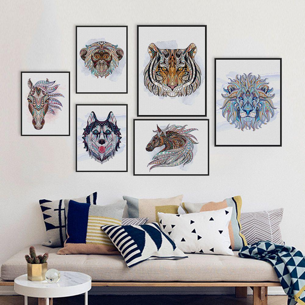 2018 Ancient African National Animals Head Deer Lion Art Prints ...