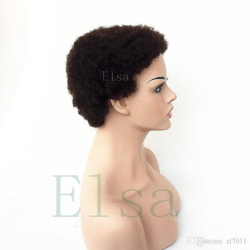 Celebrity Human Hair Wigs Tight Afro Kinky Curly Malayisan Hair Celebrity Cheap Very Short Natural Black Human None Lace Guleless Wig
