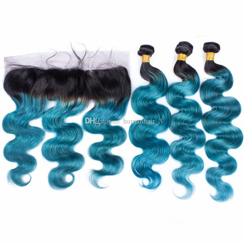Blue Lace Frontal With Bundles Ear To Ear Lace Frontal With Body Wave Human Hair Bundles Two Tone 1b Blue Hair Weaves
