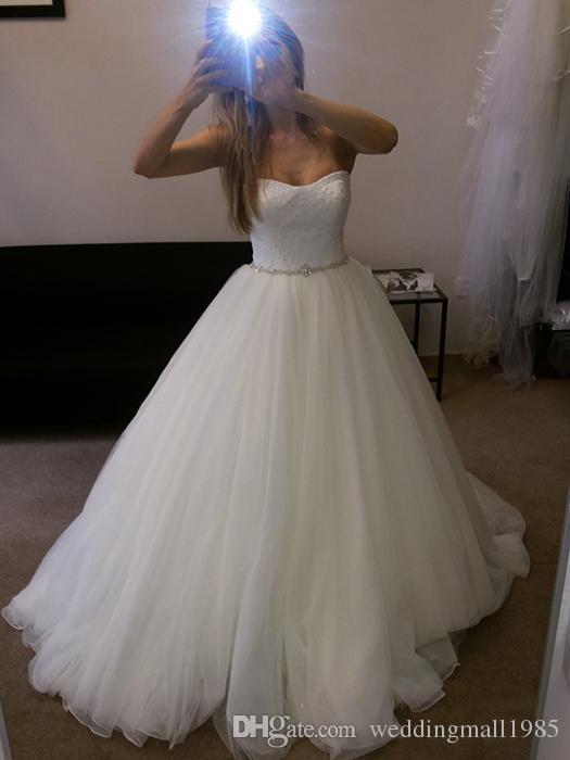 2016 new strapless A-line Wedding Dresses lace crystal beaded belt Chapel trailing Wedding fashion beautiful Wedding Dress plus size
