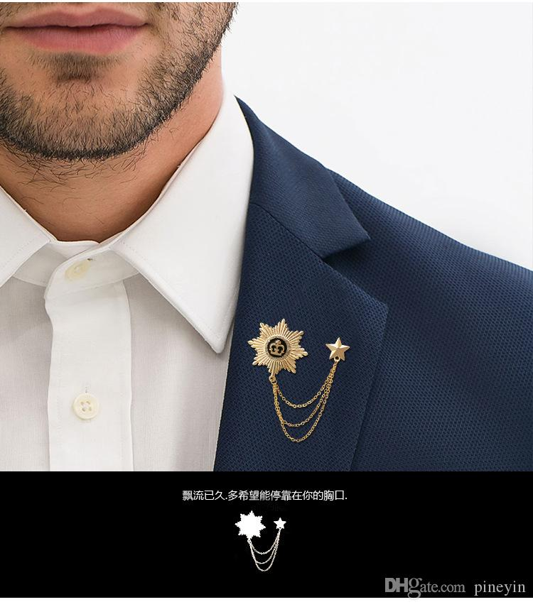 2016 broches de lujo accesorios del banquete broche de la estrella del encanto del broche del Rhinestone para mujeres hombres regalo de la boda broches CY03