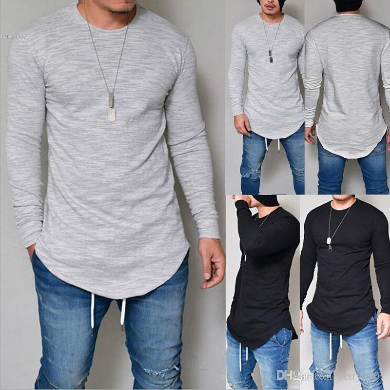 12c896293b9c Mens Designer T Shirts Clothes Cycling Sports Jerseys Long Sleeve New 2018  O Neck Solid Curved Hem Slim Fit Top Plus Size Autumn Sprint Shirt Designs  Best T ...