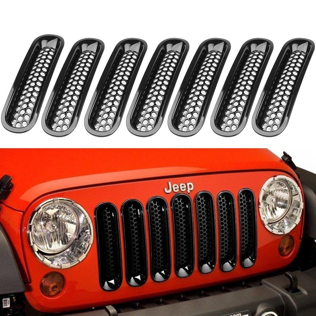 2018 black front grill mesh grille insert kit for jeep wrangle