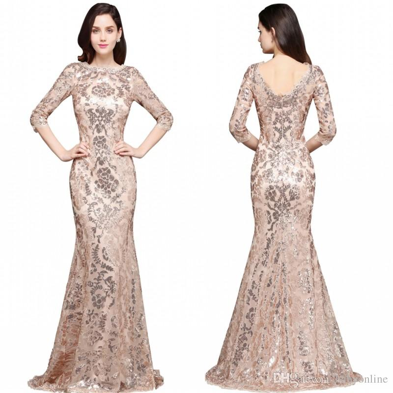 34f406b51c848 2018 Special Design Rose Gold Designer Occasion Dresses Mermaid Long Sleeves  Full Sequins Lace Evening Dress Luxury Prom Party Gowns CPS634 Silk Prom ...