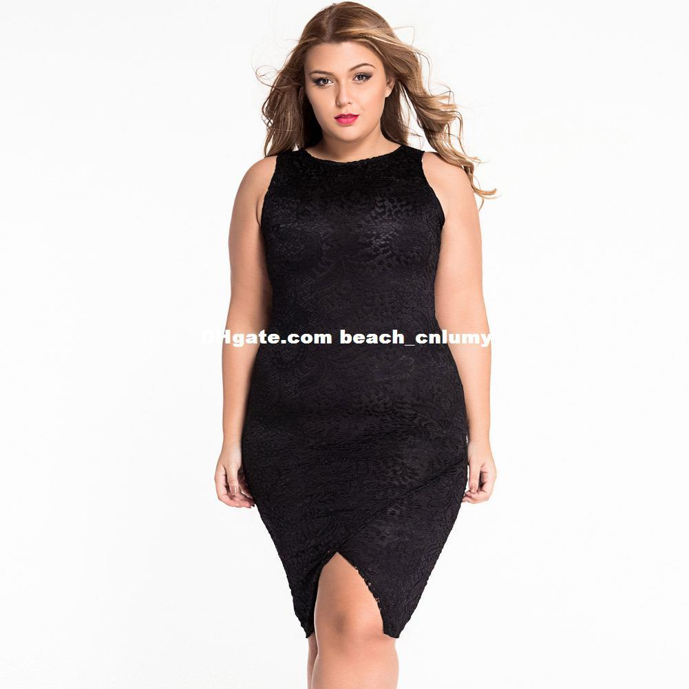 2xl plus size bodycon dresses black lace sleeveless evening party