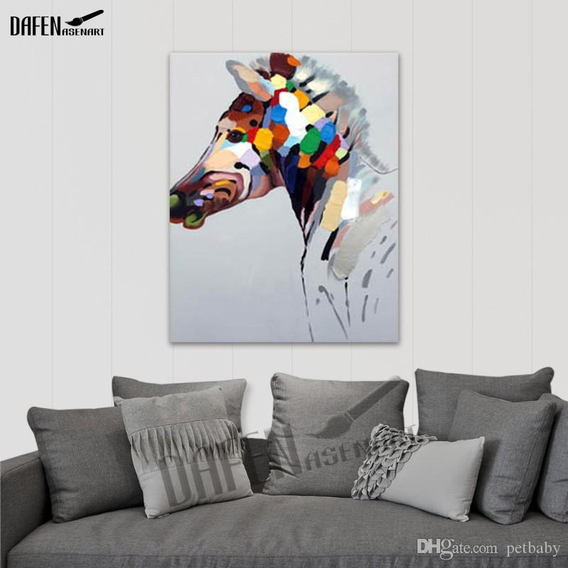 Happy Horse 100% Handpainted Animal Oil Paintings Funny Cartoon Picture Paint on Canvas Modern Wall Art Home Decoration