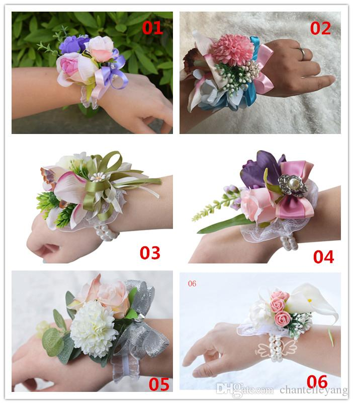 2017 New Wrist Corsage Artificial Flowers Bridesmaid Sisters Hand
